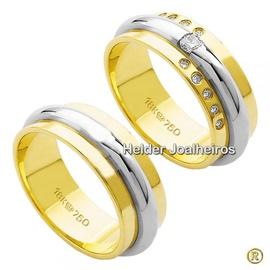 Aliança Bodas de Prata em Ouro 18k - Helder Joalheiros