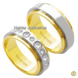 Aliança Bodas de Prata com Brilhantes - Helder Joalheiros