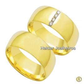 Aliança de Casamento 8,0 Milímetros - com Diamante... - Helder Joalheiros