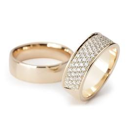 Aliança de Ouro 18k Com Diamantes - Helder Joalheiros