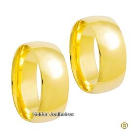 Aliança Clássica 8,0 Milímetros de Ouro 18k - Casa... - Helder Joalheiros