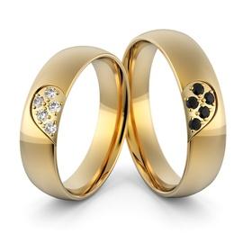 Aliança em Ouro 18k com Diamantes Branco e Diamant... - Helder Joalheiros
