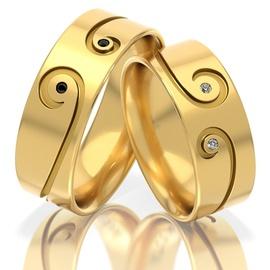Aliança em Ouro 18k Trabalhada com Diamantes Branc... - Helder Joalheiros