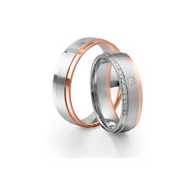 Aliança Bodas de Prata em Ouro 18k com Diamante Pr... - Helder Joalheiros