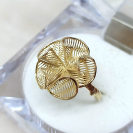 Anel em Ouro 18k 750 Flor Telada Cone Aro Galho - Helder Joalheiros