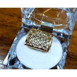 Anel em Ouro 18k Quadrado Diamantado - Helder Joalheiros