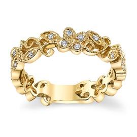 Anel em Ouro Amarelo 18k Flores com Diamantes - Helder Joalheiros