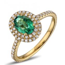 Anel Oval Cravejado com Diamantes Esmeralda - Helder Joalheiros