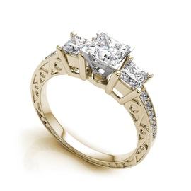 Anel de Noivado com Diamantes Princess - Helder Joalheiros