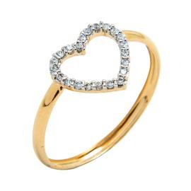 Anel em Ouro 18k 750 Coração Vazado Cravejado - Helder Joalheiros