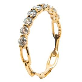 Anel em Ouro 18k 750 Aro Cartier com Pedras Natura... - Helder Joalheiros