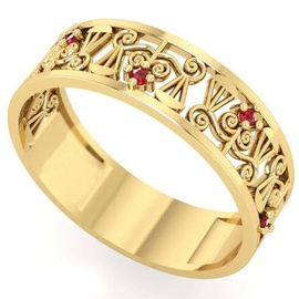 Anel de Formatura em Ouro Direito Trabalhado com P... - Helder Joalheiros