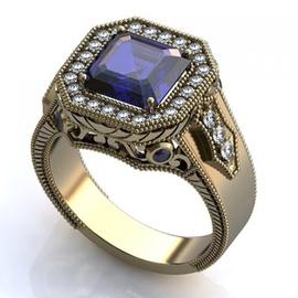 Anel de Formatura com Diamantes e Pedra Natural - Helder Joalheiros