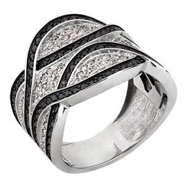Anel Largo Trançado com Diamantes Branco e Black - Helder Joalheiros
