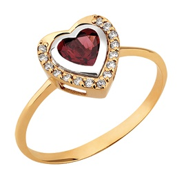 Anel Coração de Granada Ouro 18k c/ Diamantes - Helder Joalheiros