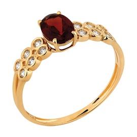 Anel de Granada Em Ouro Com Brilhantes - Helder Joalheiros