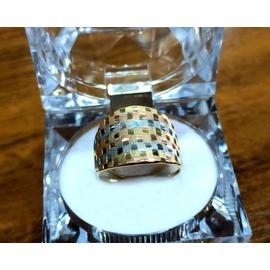 Anel em Ouro 18k Tricolor Quadriculado - Helder Joalheiros