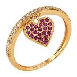 Anel Ouro 18k Aro Cravejado c/ Diamantes e Coração... - Helder Joalheiros