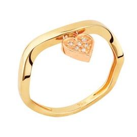 Anel em Ouro Amarelo 18k coração e diamantes - Helder Joalheiros