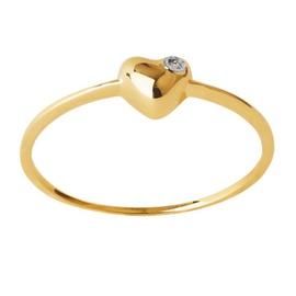 Anel Coração em Ouro Amarelo 18k com Diamantes - Helder Joalheiros