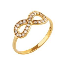 Anel em Ouro Amarelo 18k Infinito com Diamantes - Helder Joalheiros