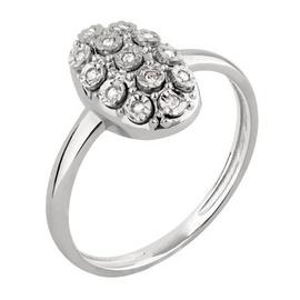 Anel em Ouro Branco 18k Oval com Diamantes - Helder Joalheiros
