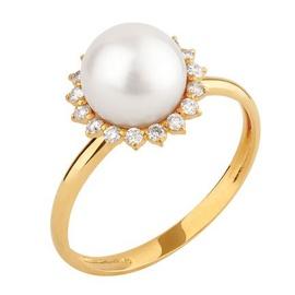 Anel em Ouro Amarelo 18k Pérola com Diamantes - Helder Joalheiros