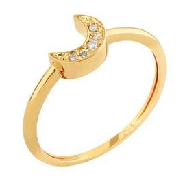 Anel em Ouro Amarelo 18k Meia Lua com Diamantes - Helder Joalheiros