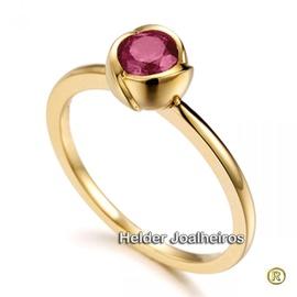 Anel em Ouro 18k 750 com Rubi - Helder Joalheiros