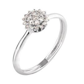 Anel em Ouro Branco 18k Flor Pequena com Diamantes - Helder Joalheiros