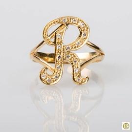 Anel em Ouro 18k Letra R Cravejado com Brilhantes - Helder Joalheiros