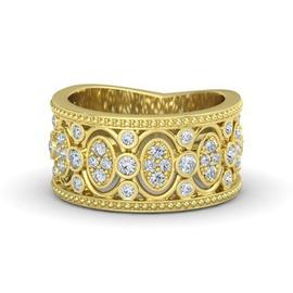 Anel Trabalhado Cravejado c/ Diamantes em ouro 18k - Helder Joalheiros