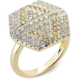Anel Hexagon Cravejado c/ Diamantes - Helder Joalheiros