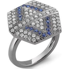 Anel Hexagon Cravejado c/ Diamantes e Safira Azul - Helder Joalheiros