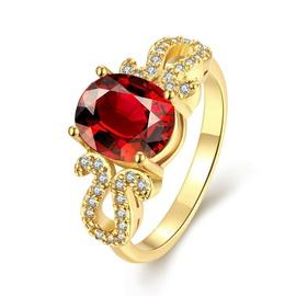 Anel em Ouro Amarelo 18k com Diamantes e Granada - Helder Joalheiros