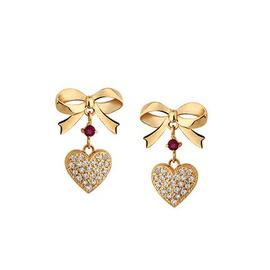 Brinco em Ouro Amarelo 18k com Rubi e Diamantes - Helder Joalheiros