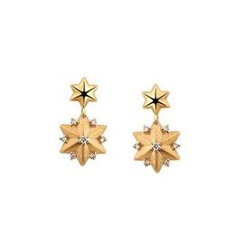 Brinco em Ouro Amarelo 18k Estrela com Diamantes - Helder Joalheiros
