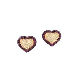 Brinco em Ouro Amarelo 18k 750 Coração com Diamant... - Helder Joalheiros