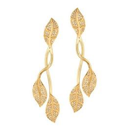 Brinco em Ouro Amarelo 18k 750 Folhas com Diamante - Helder Joalheiros