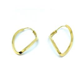 Brinco de Argola em Ouro 18k Oval Torcido - Helder Joalheiros
