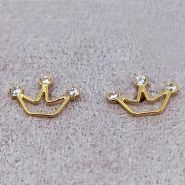 Brinco em Ouro 18k 750 Coroa com Pedras - Helder Joalheiros