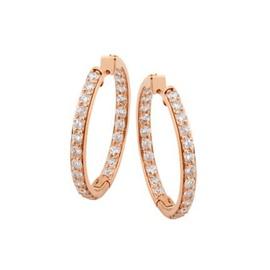 Brinco Argola em Ouro Rosê 18k 750 com Diamantes - Helder Joalheiros