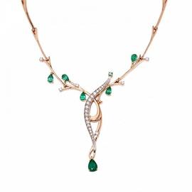 Gargantilha em Ouro 18k Com Diamantes e Esmeraldas - Helder Joalheiros