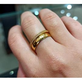 Meia Aliança em Ouro Amarelo 18k com Zircônias - Helder Joalheiros
