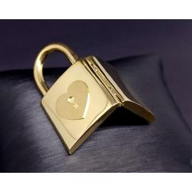 Relicário em Ouro 18k 750 Cadeado com Coração e Ch... - Helder Joalheiros