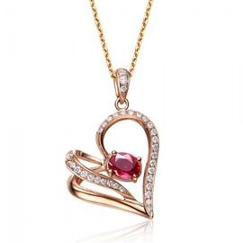 Pingente Coração Cravejado com Diamantes e Rubi - Helder Joalheiros