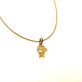 Pingente em Ouro amarelo 18k menino Vazado - Helder Joalheiros