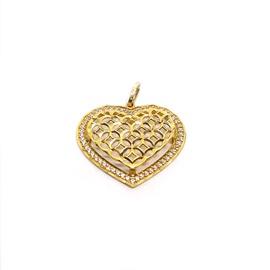 Pingente em Ouro 18k Coração Cravejado Vazado - Helder Joalheiros
