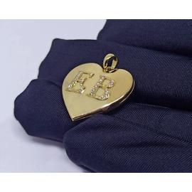 Relicário em Ouro 18k Coração Gravação de Duas Let... - Helder Joalheiros