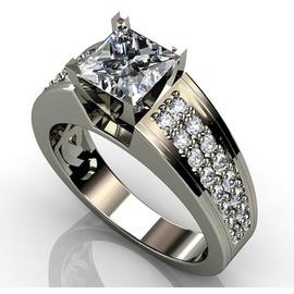 Solitário em Ouro Branco com Diamantes - Helder Joalheiros